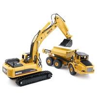 2pcs 1:50 Transport Articulated Dump Truck Toys Engineering Alloy Car Crawler Excavator Trucks Model Toys For Boys Gift