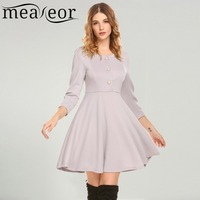 Meaneor Women Casual Dress 2018 Spring O Neck 3 4 Sleeve Split Cuffs A Line Pleated