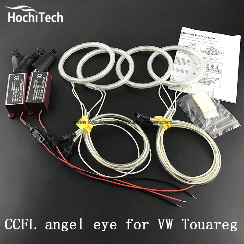 HochiTech Excellent Angel Eyes Kit For Volkswagen VW Touareg 2003 2004 2005 2006 Ultra bright headlight illumination CCFL hochitech excellent ccfl angel eyes kit ultra bright headlight illumination for hyundai tiburon 2003 2004 2005 2006
