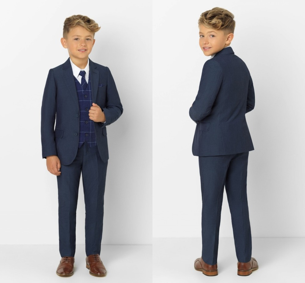 2019 Fashion Boys' Attire Peaked Lapel Kids Suits Fashion Children Clothing Set 3 Pieces Prom Suits (Jacket+Pants+Tie+Vest)