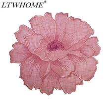 "LTWHOME красный цвет вышитый персиковый цветок Мотив 11,"" круглая Кружевная салфетка или тарелка"