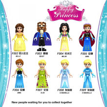 Friends for Girls Figures Cinderella Anna Princess Mermaid beast legoing Building BlockS Toys Kits Bricks fairy story girls(China)