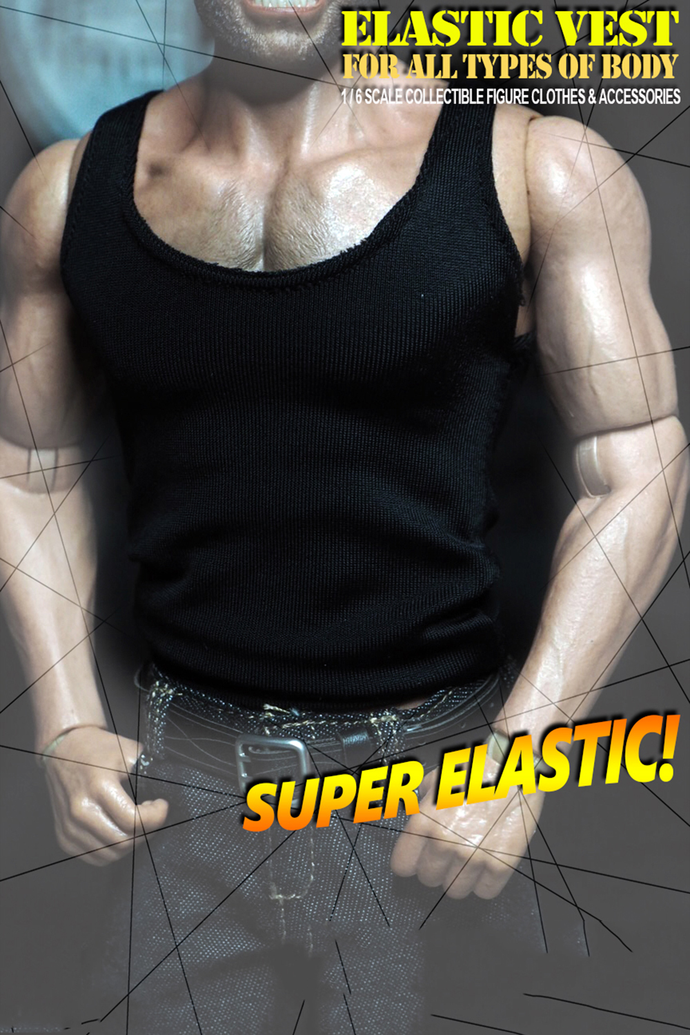 <font><b>1/6</b></font> <font><b>scale</b></font> <font><b>Male</b></font> <font><b>Clothes</b></font> Low Collar Slim Vest Sleeveless T-shirt Clothing for 12'' Wolverine Action Figure Body Accessory image