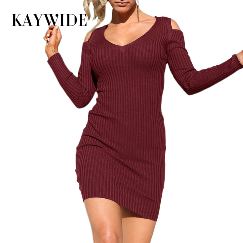 DICLOUD 2017 Autumn New Women Knitted Dress Series Rib Off The Shoulder V Neck Full Sleeve Bodycon Party Dresses For Woman 17328 stylish off the shoulder plunging neck bodycon dress for women