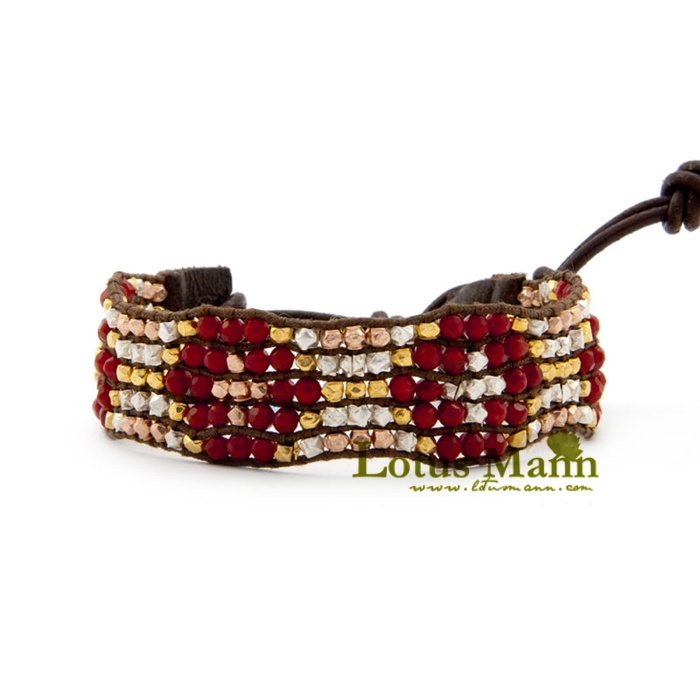 3 pure silver beads red coral handmade leather buckle on bracelet