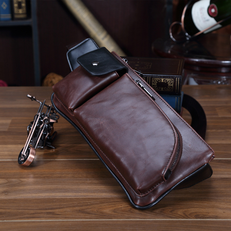 32aa39146d Vintage PU Leather Male Chest Bag Business Affairs Chest Pack Men Messenger Bags  Sling Bag Men s
