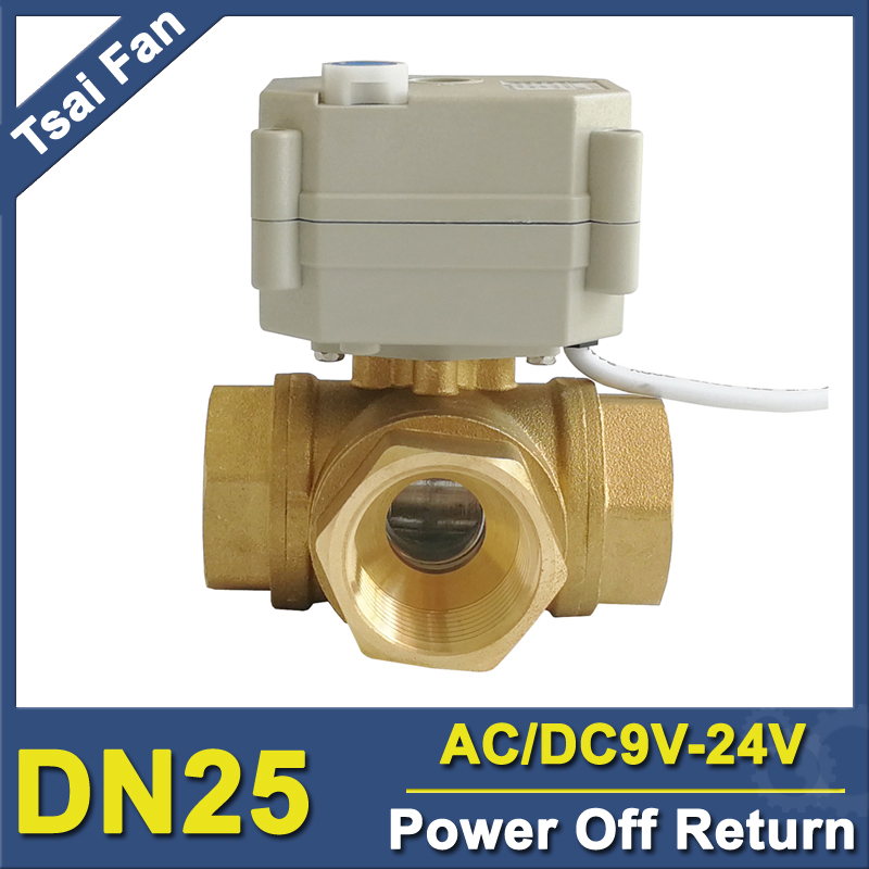 TF25-BH3-B Brass 1 (DN25) 3 Way T/L Type Horizontal Power Off Return Valve AC/DC9-24V 2 Wires For Water Automatic ControlTF25-BH3-B Brass 1 (DN25) 3 Way T/L Type Horizontal Power Off Return Valve AC/DC9-24V 2 Wires For Water Automatic Control