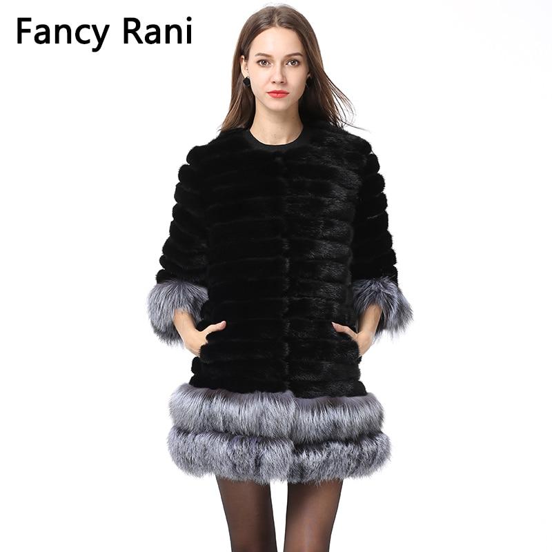 Для женщин зимние реального норки пальто с мехом лисы рукав манжеты/низ толстый теплый натуральный Меховая куртка пальто повелительницы ме...