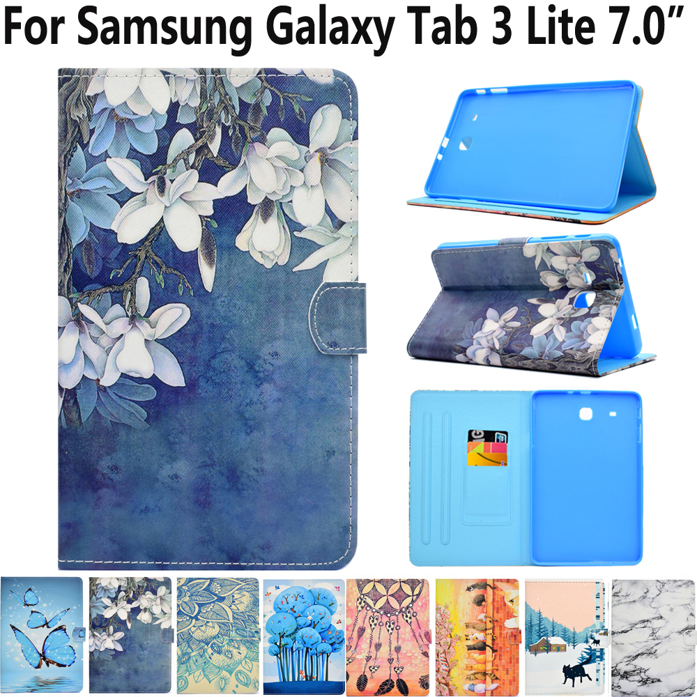 Fashion Flower Case for Samsung Galaxy Tab 3 Lite 7 7.0 SM-T110 SM-T113 SM-T116 Flip Cover Case for Samsung T110 T113 T116 T111
