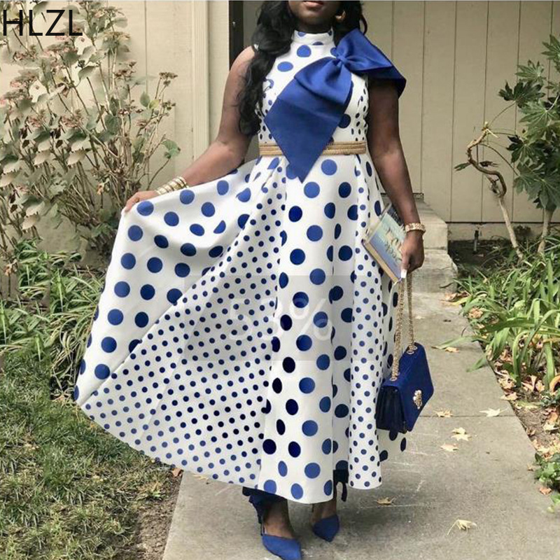 Woman African Polka Dot Party Dresses Bow Pleated Swing Patchwork Sleeveless Lady Maxi Dress For Evening Spot Printed Clothes