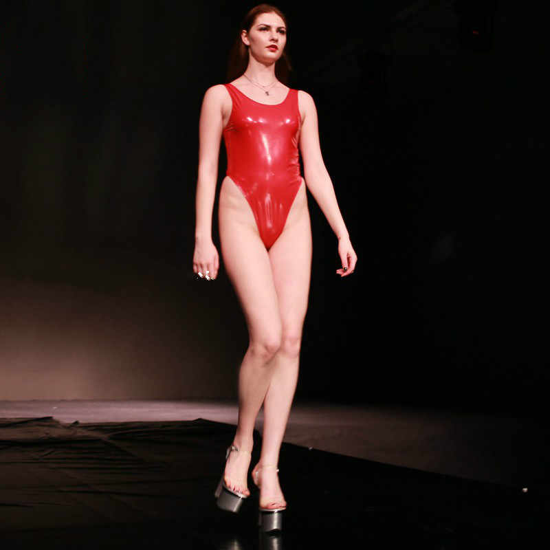 f0b418a07951c ... Sexy Mirror Rubber PVC Sleeveless Thong Bodysuit Women Siamese Tight  Solid Swimsuit Female Stage Club Wear