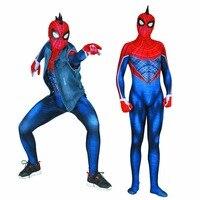 Halloween PS4 Spider Man punk Spider Man suit Cosplay 3D printing Zentai Costume tights jumpsuit adults/children/kids