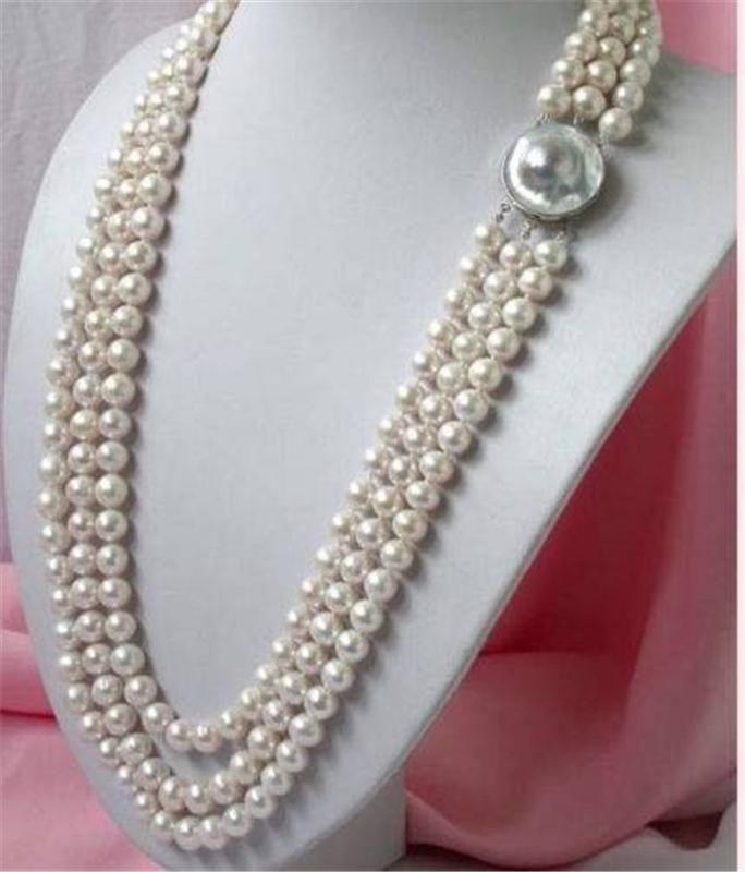 En gros LIVRAISON GRATUITE NOUVEAU 3 RANGÉES 8-9 MM blanc AA + MER DU SUD collier de perles 17-19
