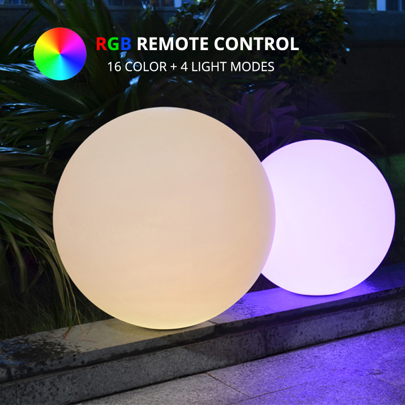 Dia50cm 16-Color LED Ball Lamp Indoor Outdoor Waterproof Rechargeable LED Sphere Night Glowing Decoration Light + Remote Control
