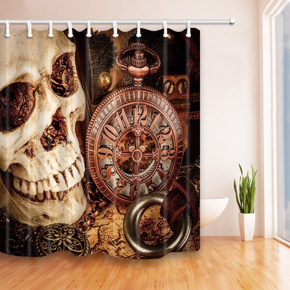 The spooky skull with a mechanical clock, Mildew Resistant Polyester Fabric Shower Curtains for Bathroom, Shower Curtain
