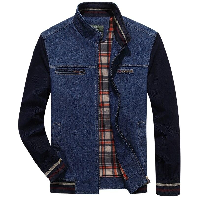 Autumn Winter Denim Men's Jackets Fashion Men Plus Size M~4XL Casual Coats Cardigan Cotton Solid All Match Denim Blue Mens Coats
