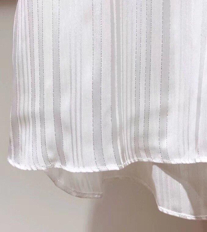 2019 printemps nouveau ruban arc col lanterne à manches longues pli plissé pur blanc lâche blouse - 6