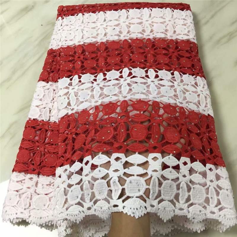 red and white lace fabric with stones guipure lace fabric 2018 bridal wedding nigerian lace fabric 2018 high quality lace-in Fabric from Home & Garden    1