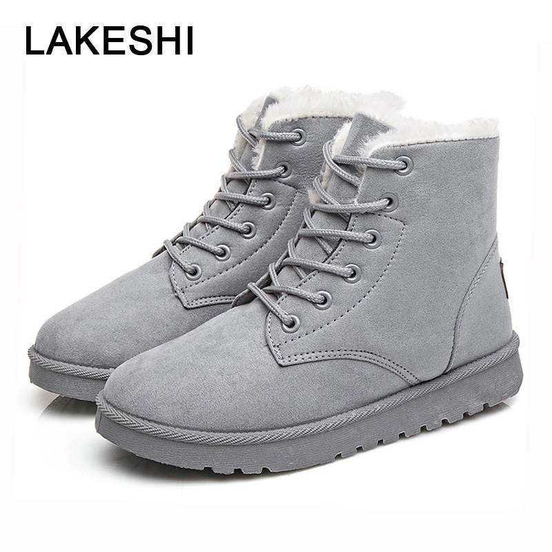 LAKESHI Women Boots Lace-up Cotton Boots Women Ankle Boots 2018 Winter Snow Boots Round Toe Fashion Female Shoes Botas Femininas
