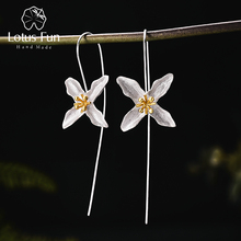 Купить с кэшбэком Handmade Genuine 925 Sterling Silver Special Poetic Clover Dangle Earrings Ethnic Vintage New Fashion Jewelry pendientes plata