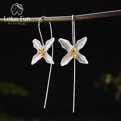 Lotus Fun réel 925 en argent Sterling naturel fait à la main bijoux fins Vintage poétique trèfle mode boucles d'oreilles pour les femmes Brincos