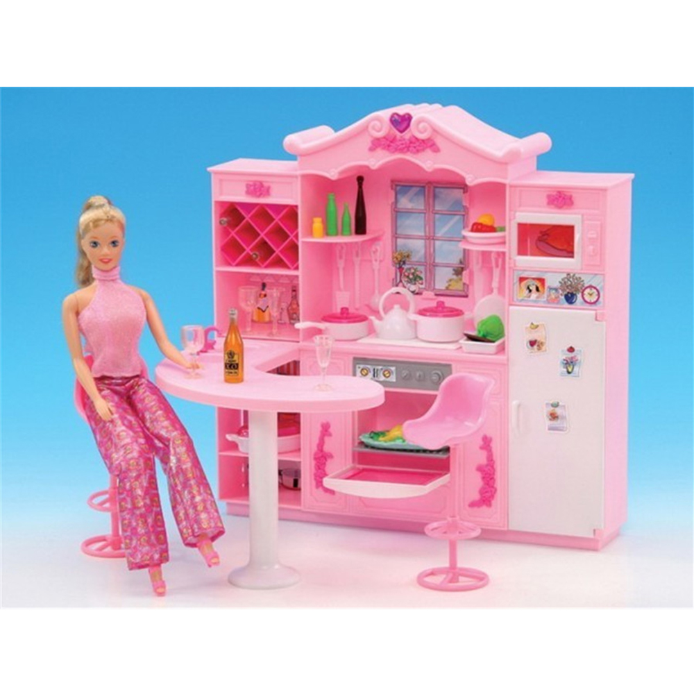 miniature furniture dreamy rose kitchen for barbie doll house classic toys for girl free shipping