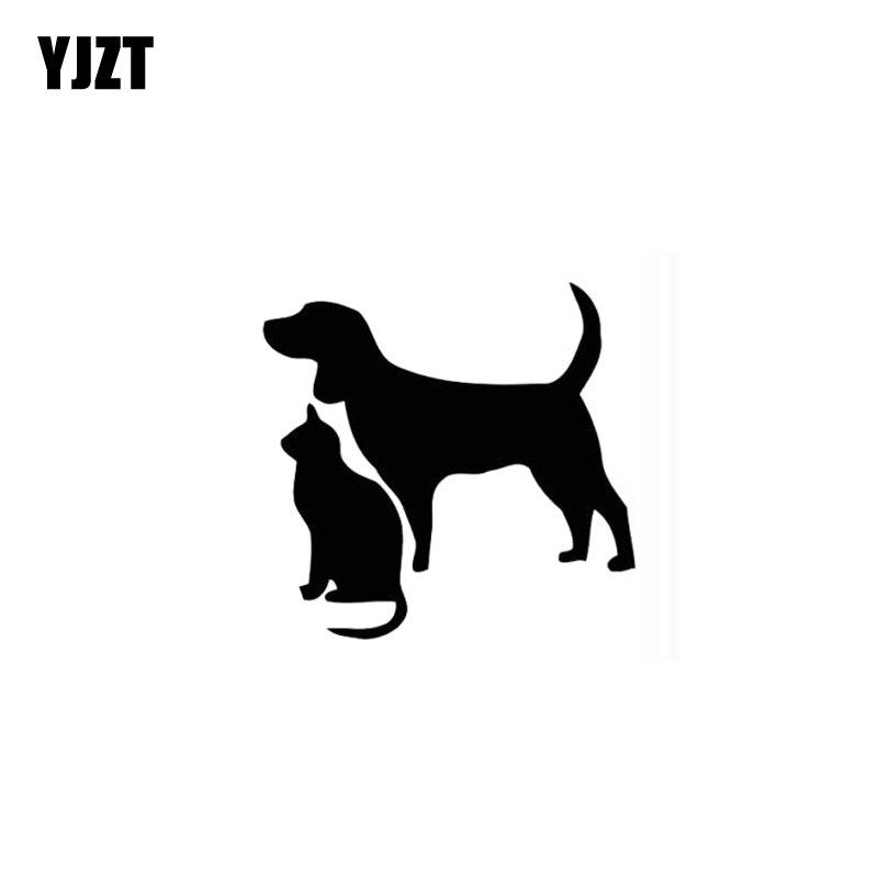 YJZT 12.8CM*12.4CM Cat Dog Cute Kitten Puppy Pet Art Car Stickers Vinyl Decals Black Silver C10-02310