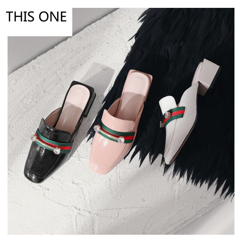 Big Size Summer Sexy Slippers Rhinestone Flip Flop Women Sandals Square Heel Slip-On Sandals Summer Shoes Woman High Heel Sandal xiuningyan horsehair sandals women flat heel sandals fashion summer low heel shoes woman sandals summer plus size free shipping