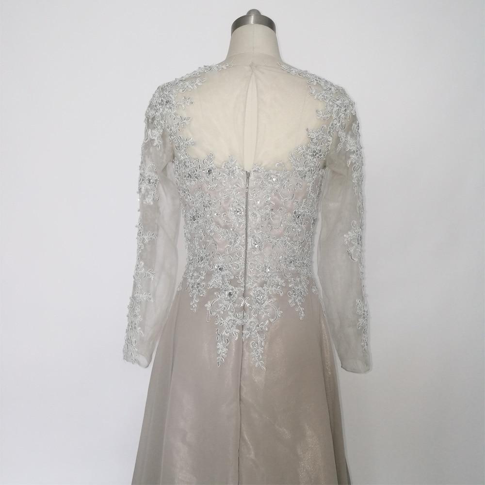 JIERUIZE Grå Chiffon Lange Ermer Kjole A-Line Lace Appliques Beaded - Spesielle anledninger kjoler - Bilde 6