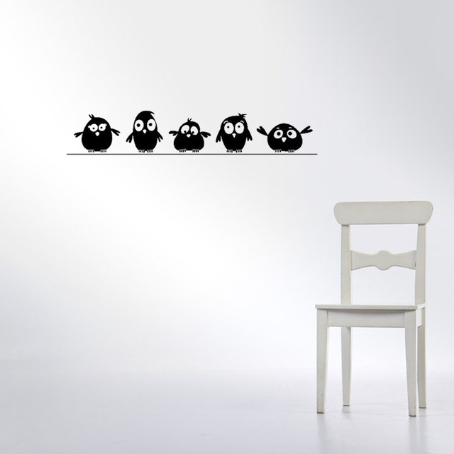 cute 5 little birds on the wire wall stickers door stickers for kids