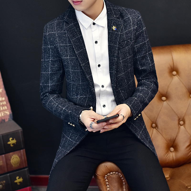 Striped Lattice 2019 Long Stripes New Casual Men's Muits Men Blazers Long Sleeves Black Red Suits Cotton Black Blue Blazer