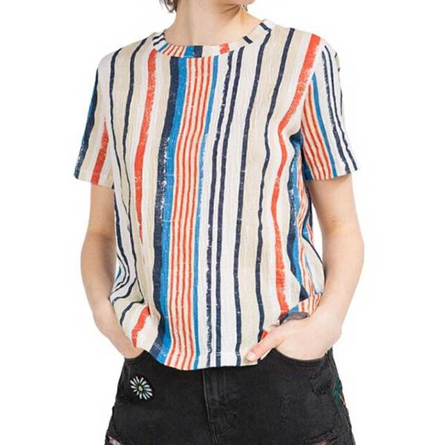 164822ea87 T Shirts Women Harajuku Color Vertical Striped Short Sleeve Shirt Summer  Fashion Casual Tees Ladies Loose Tops Camiset new