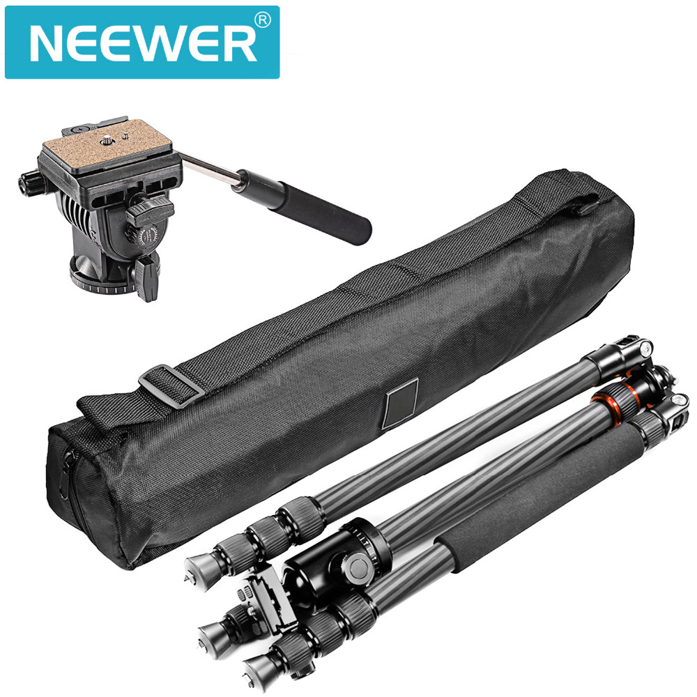 Neewer Carbon Fiber 66 inches Tripod Monopod with 360 Degree Ball Head Fluid Video Head Quick Shoe Plate Bag for DSLR Camera ashanks a750c carbon fiber extendable handheld monopod with fluid head for video dslr camcorder camera better than jy0506
