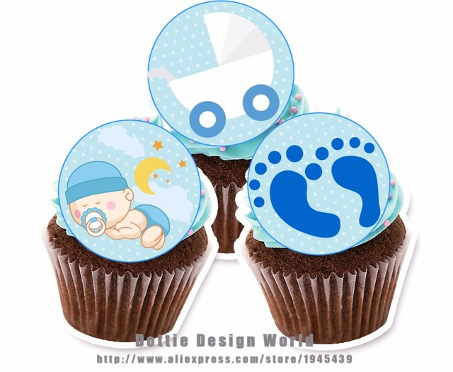 24 Boy Baby Shower Edible cake topper wafer rice paper Cake cupcake ...