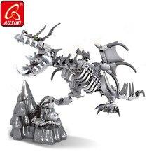 AUSINI הדרקון שלד בניין בלוקים בורא צעצועים לילדים עצם דינוזאור דגם לבנים גולגולת דמויות בני ילדים צעצועים