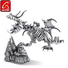 Ausini dragão esqueleto blocos de construção criador brinquedos para crianças osso dinossauro modelo tijolos crânio figuras meninos crianças brinquedos