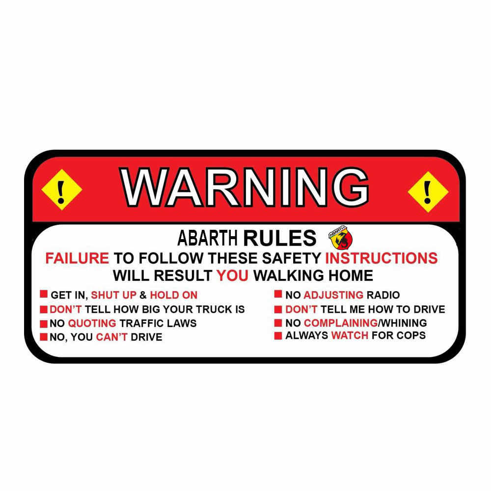 for fiat abarth 500 Rules Warning Safety Instructions Funny Decal Sticker Wrangler Sahara