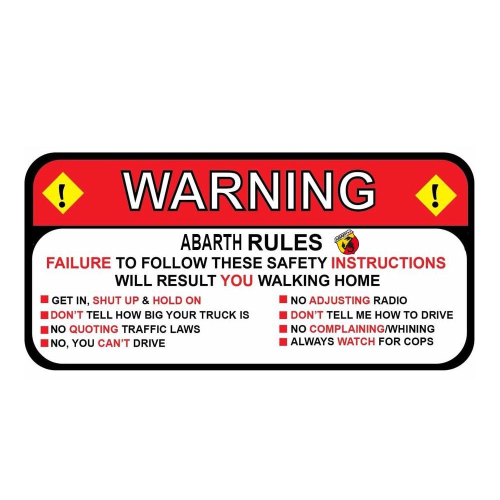 Для fiat abarth 500 Rules предупреждающие инструкции по безопасной эксплуатации Веселая наклейка-трафарет Wrangler Sahara