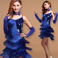 Elegant Sexy Unequal Women Girls Sequin Fringe Tassel Skirt Ladies Latin Tango Ballroom Salsa Dance Dress