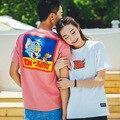 Высокая марка 2016 лето мультфильм Том и Джерри картина пара футболки o шеи короткими рукавами футболка femme 2016 tx2053