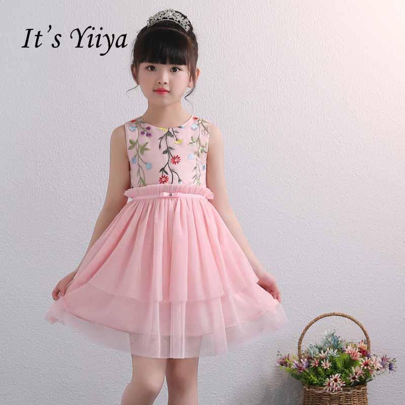 It's yiiya Zipper   Flower     Girl     Dress   Kid Child Cloth Bow O-neck Princess Tulle Ball Gown   Dress   For Party Wedding   Girl     Dress   S252
