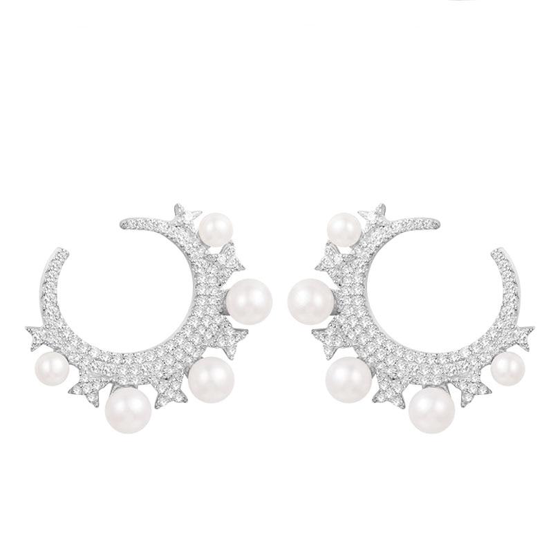 SKA Brand Pearl Earrings For Women Monaco Fine Jewelry 925 Sterling Silver Inlaid Moon Shape Unique Stud Earring AE10736XPL pair of sweet faux pearl decorated antler shape stud earrings for women