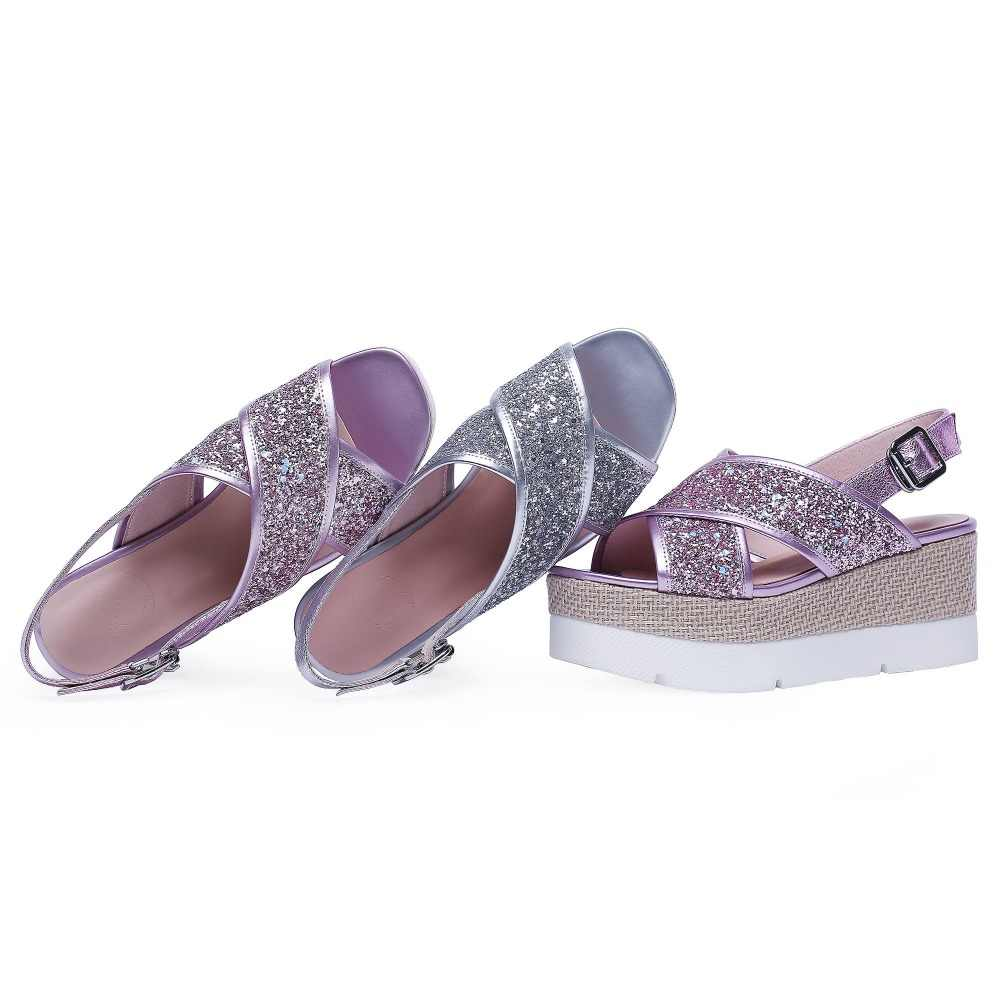 גדול גודל בוהן ציוץ עקבים גבוהים טריזים בלינג מתוק אלגנטי חזרה רצועת נשים סנדלי אלגנטי מותג מזדמן אבזם קיץ נעליים l5f7