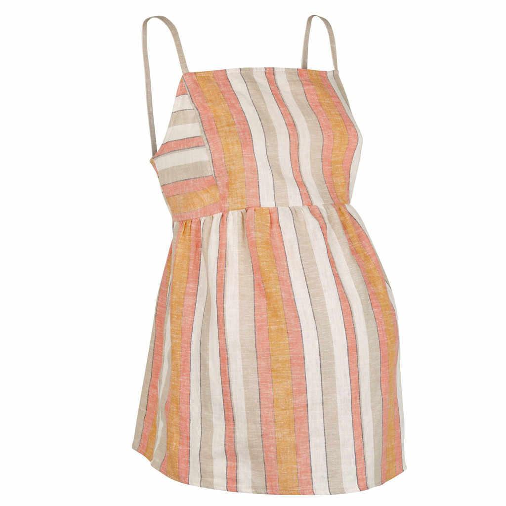 Mulheres grávidas strapless halter bow sling camisole mulheres grávidas listrado impressão do algodão ocasional revestimento macio e confortável colete 2019