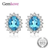 Gemlove Certificado Hermosa Plata de ley 925 1.7ct Topacio Azul Aretes de Joyería Del Diamante de Las Mujeres Tachona Los Pendientes 10% off CR006