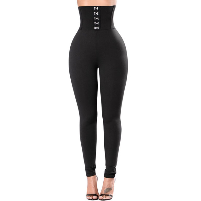 720eb32e273 Sexy Women Corset Belt High Waist Leggings Hot Sale Black Fashion Butt  Lifting Skinny Pants Casual Ladies Fitted Pants Online