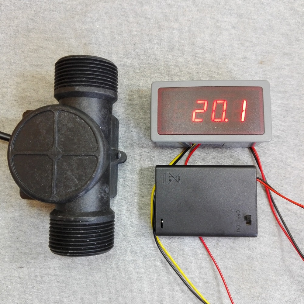 US208MA +USN-HS141TA 5-150L/min flow sensor Flow Meter and Alarmer Flow Rate Display Frequency Counter for water Flow Sensor us208mt flow totalizer usn hs10pa 0 5 10l min 10mm od flow meter and alarmer totalizer frequency counter hall water flow sensor
