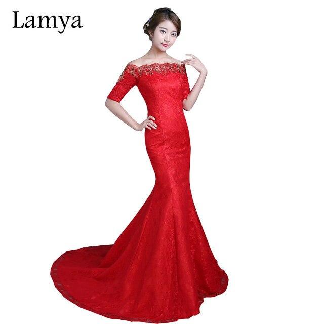 1500c6ea78b0 LAMYA encaje rojo sirena vestidos de novia barato blanco corte tren boda  vestido Vintage cuello barco
