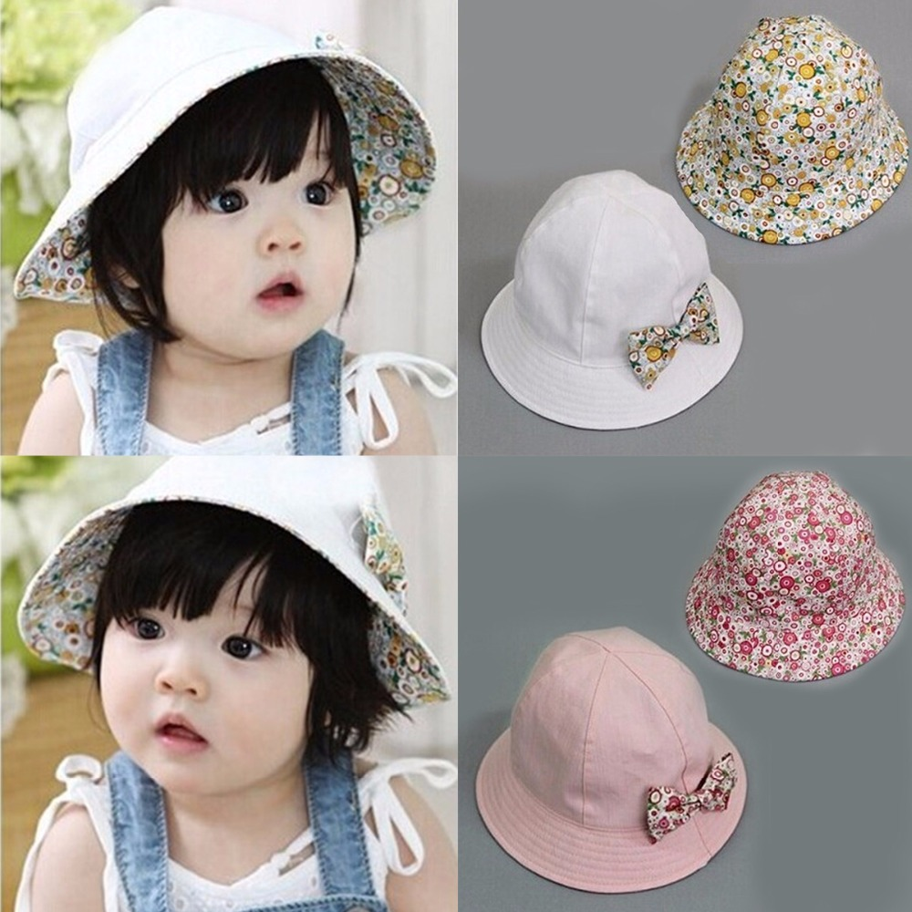 e76e89ea0da Puseky 2017 Summer Flower Print Cotton Baby Hat Kids Girls Floral Bowknot Cap  Sun Bucket Hats Double Sided Can Wear gorro-in Hats   Caps from Mother    Kids ...