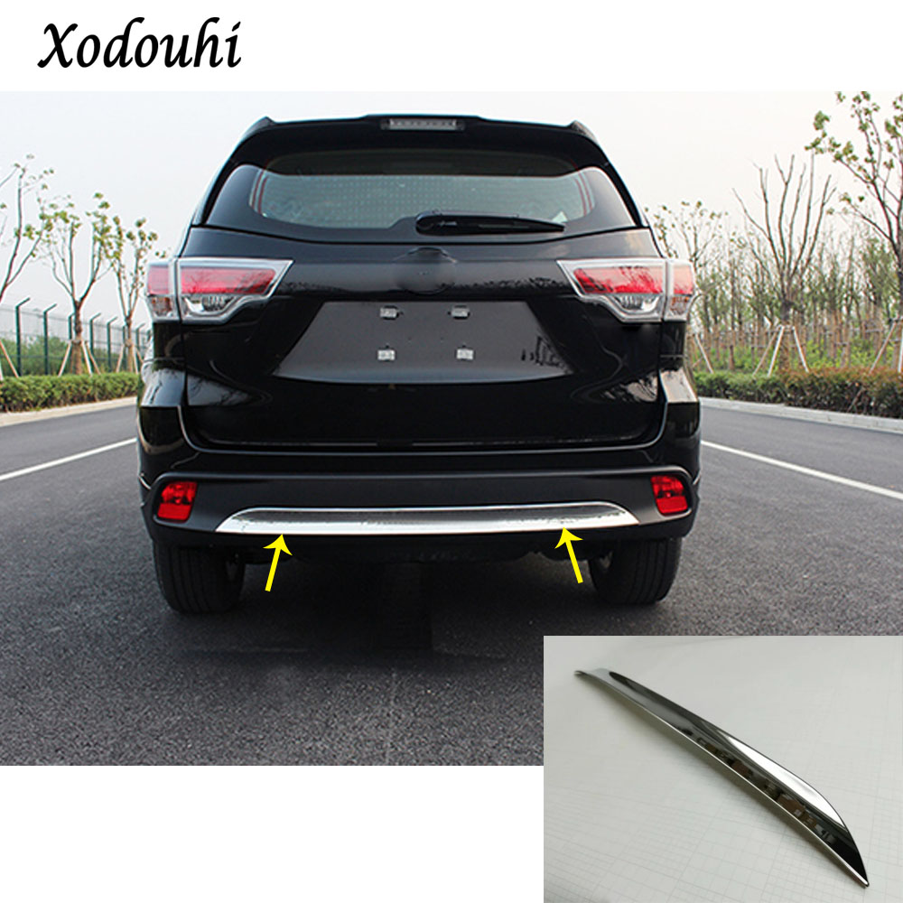 For Toyota Highlander 2015 2016 2017 car body cover styling protection bumper ABS trim stick rear back tail bottom hood pedal high quality abs chrome rear bumper scuff trim for 2015 toyota highlander
